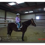 Alia riding in the arena.